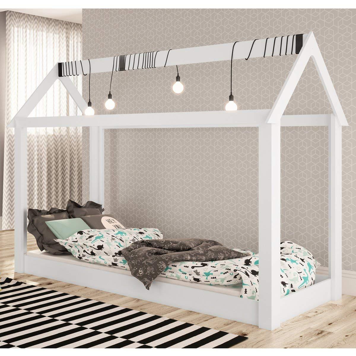 cama montessori branca formato casinha